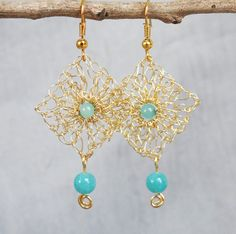 Handmade wire crochet earrings.Gold wire earrings.Dangle crochet gold wire earrings Aqua earrings Handcrafted wire jewelry.Knitted earrings. by ByDrora on Etsy https://www.etsy.com/listing/207580465/handmade-wire-crochet-earringsgold-wire