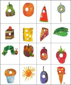 Caterpillar Bingo, I am using it as a reference for the fruit in the book Very Hungry Caterpillar Printables, Hungry Caterpillar Food, Hungry Caterpillar Craft, Caterpillar Cake, Eric Carle, Preschool Crafts, Crafts For Kids, Bug Crafts, Laura Ingalls Wilder