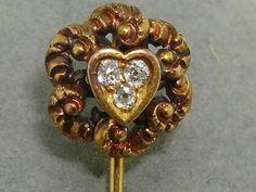 ANTIQUE ART NOUVEAU 14K SOLID GOLD REPOUSSE BRILLIANT MINE CUT DIAMOND STICK PIN