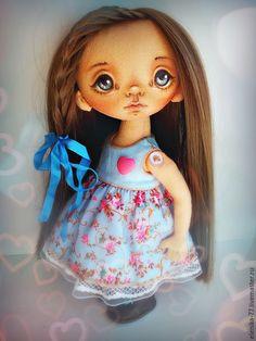 Купить Папина радость. Кукла текстильная. - голубой, кукла ручной работы, кукла в подарок