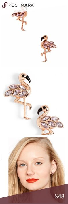 """kate spade new york flamingo stud earrings ❌NO TRADES❌  - kate spade new york flamingo stud earrings  - 1/2""""W x 7/8""""L.  - Post back.  - 12k rose-gold plate/glass/enamel.  - New with tags and dust bag kate spade Jewelry Earrings"""