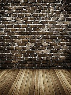 10x10ft Microfiber Soft Fabric White Brick Wall Photography Backdrops Grey Wood Floor Photo Backgrounds for Photoshoot