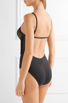 LA PERLA Ribbed underwired swimsuit Black and sand stretch-nylon Pulls on 90% polyamide, 10% elastane; lining: 88% polyamide, 12% elastane Hand wash Lotion, sunscreen, oil and chlorine can cause discoloration of this item; this is not a manufacturing defect. Please follow care instructions to keep your swimwear in the best condition