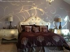 Modern Masters Warm Silver Metallic Paint used for a freehand mural. Nightstands were made to match. Project by Arlene McLoughlin.