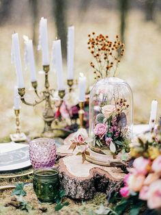 Enchanted Forest Fairytale Wedding in Shades of Autumn | forest wedding table decor | fabmood.com #forestwedding #fairytale
