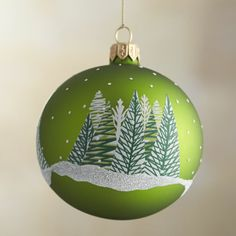 Green Wintery Forest Ball Ornament  | Crate and Barrel