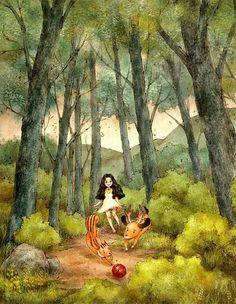 즐거운 산책 (A fun walk) by 애뽈 on Grafolio Forest Illustration, Illustration Girl, Vie Simple, Meaningful Pictures, Fun Walk, Grafiti, Forest Girl, Girls Characters, Korean Artist