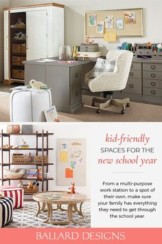Looking for the best way to set your home up for home schooling? It's no question that this school year will look a little different than usual. While the kids may be home more than normal, it's now more important than ever to make sure your family has everything you need to survive the school year. From the Home office, to the desk in the kitchen, take a look at Kid Friendly Spaces from Ballard Designs. Edison House, Interior Decorating Tips, Wall Desk, Inspiration For Kids, Ballard Designs, Spare Room, Custom Furniture, Home Office, Living Room Decor