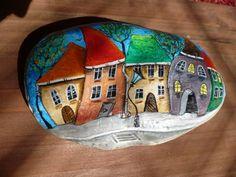 Malba na kameny - malování na zeď...I love these quaint and crooked houses!!