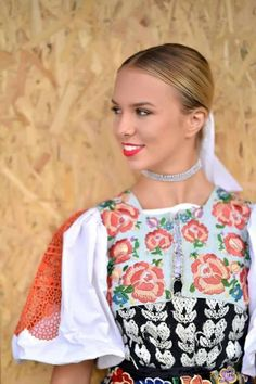 The traditional costume of Podpolanie area, Slovakia, incorporates many different types of embroidery. Notice the detailed embroidery on the sleeves, the full stitches on the vest, and tambour emboidery on the waist. The undershirt /black and white. Ukraine, Folk Costume, Costumes, Types Of Embroidery, People Of The World, Costume Design, Black And White, Portrait, Womens Fashion