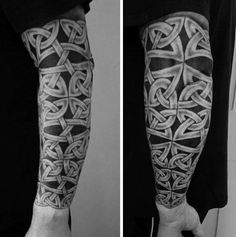 Forearm And Elbow Mens Celtic Knot Sleeve Tattoo Designs