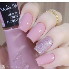 Unhas Artísticas, Unhas Decoradas, Unhas Com Pedras E Adesivos De Unhas Perfect Nails, Gorgeous Nails, Love Nails, Pink Nails, Glitter Nails, My Nails, Stylish Nails, Trendy Nails, French Gel