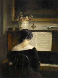 Interior with lady at the piano. Carl Vilhelm Holsøe (Danish, 1863-1935). Oil on panel. Interior scenes, often sparsely furnished rooms, were a feature of Danish painting in the late 19th century. Vilhelm Hammershøi, a contemporary of Holsøe, also...