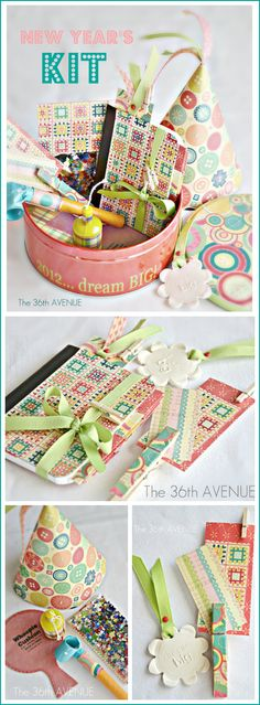 DIY New Years Kit… Make a  journal and party favors to welcome the New YEAR! #newyears #diy #party