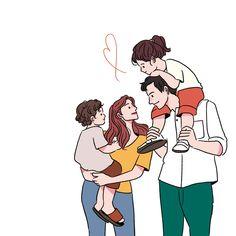👨👩👧👦💖 . 삽화 / 표지에 들어가는 일러스트 작업한 책이 나왔습니당 ☺️ . . '네덜란드 소확행 육아' 서점에서 보면 반갑게 봐주세요 감사합니다 🙇🏻♀️ Family Illustration, Character Illustration, Graphic Design Illustration, Illustration Art, Illustrations, Cute Couple Comics, Cute Couple Art, Cover Wattpad, Family Drawing