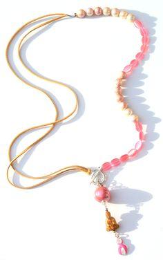 Beautiful Buddha & Lovely Pink ketting voor Pink Ribbon € 34,95 -> Jewellicious Designs doneert € 5,05 aan Pink Ribbon.