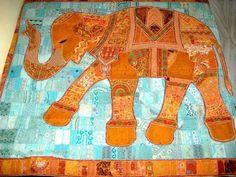 Applique quilt elephant applique patchwork reversible, throw vintage, indian antique quilt bedding, sari patchwork baby crib throw blanket