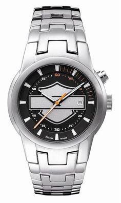 Mens Harley Davidson Stainless Steel Bar & Shield Watch by Bulova 76B039