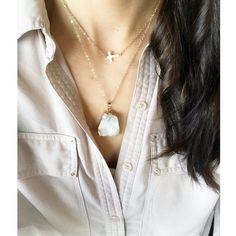 Crystal White Chunky Druzy Necklace, Geode Mineral Stone Necklace, Boho Jewlery, 16