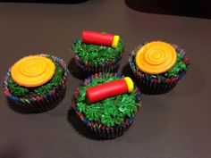 Clay shoot cupcakes Sporting Clay Shooting, Shooting Sports, 50th Birthday, Birthday Cakes, Gun Cakes, Team Dinner, Sporting Clays, Ducks Unlimited, Banquet Ideas