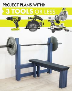 Bring the gym to your living room with this DIY Bench Press Station. With only handful of materials and 3 tools, working out from home is about to be easier than ever! View full plans on RYOBI Nation. Awesome Woodworking Ideas, Woodworking For Kids, Beginner Woodworking Projects, Woodworking Furniture, Woodworking Plans, Woodworking Crafts, Home Made Gym, Diy Home Gym, Diy Wood Projects