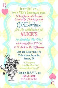 Alice in Wonderland Queen of Hearts 1st Birthday Tea Party Invitation- Digital Printable File. $15.00, via Etsy.