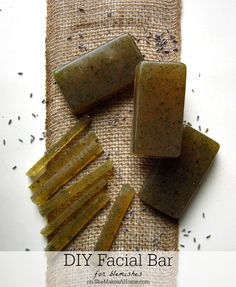 Easy DIY Facial Bar for Blemishes made using a melt and pour soap base, lavender flowers and tea tree oil