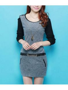 Formal Round Neck Long Sleeve Work Dress Grey and Black