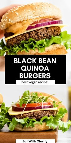 These vegan black bean quinoa burgers are a high protein recipe and perfect for meal prep! These veggie burgers are easy to make, gluten free and perfect for a summer barbecue. #blackbeanburger #veganburger Healthy Pasta Recipes, Healthy Pastas, High Protein Recipes, Vegan Dinner Recipes, Healthy Fruits, Vegan Dinners, Healthy Foods, Healthy Eating, Black Bean Quinoa Burger