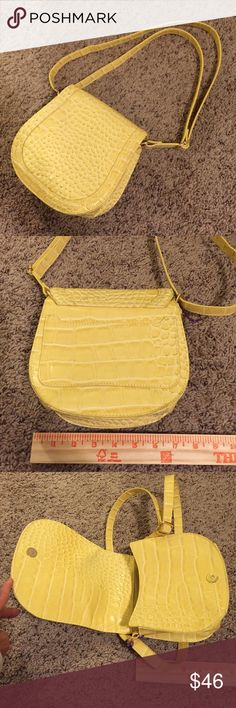 NWOT yellow bag Soft Yellow faux reptile stamped pleather. Cross body with adjustable strap length. Surprisingly roomy.  Gold tone hardware. Snob Essentials Bags Crossbody Bags