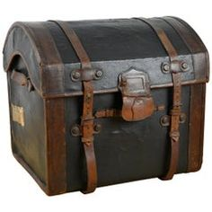 For Sale on - Antique Victorian dome top steamer trunk - travel chest. This late century steam trunk is made of strong wicker and wood , Covered with black canvas. British Colonial Decor, Spanish Colonial, Trunks For Sale, Vintage Trunks, Antique Trunks, Vintage Luggage, Vintage Bags, Steamer Trunk, Wood Chest