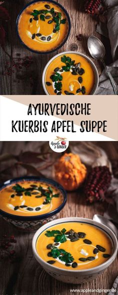Ayurvedische Kürbis-Apfel-Suppe Ayurvedic pumpkin and apple soup for cold autumn evenings. Reduce Vata and help prevent colds. Desserts Végétaliens, Healthy Desserts, Apple Soup, Pumpkin Soup, Cheap Clean Eating, Clean Eating Snacks, Gourmet Recipes, Healthy Recipes, Snacks Sains