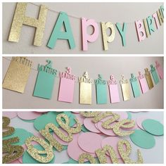 Pink & Gold Birthday Decorations, First Birthday Party Decorations, Pink and Gold First Birthday Banner, First Birthday Photo Banner First Birthday Decorations Boy, Pink First Birthday, Pink Gold Birthday, First Birthday Banners, Gold Birthday Party, First Birthday Parties, First Birthdays, Birthday Box, First Birthday Favors