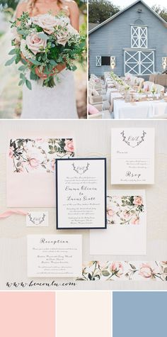 Romantic floral inspired Garden Roses wedding invitations with blush peach, ivory and navy blue. Simple typographic fonts on soft ivory paper creates a classic, yet modern/timeless look.