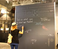 Interactive comment wall, low-tech! #SBPublicMarket chalkboard comments!  http://sbpublicmarket.com/
