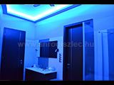 Nappali Design Color changing RGB 5050 SMD LED strip in blue light in a bathroom. The LED light line Karton Design, 12v Led, Layering Outfits, Led Strip, Interior Design Living Room, Color Change, Living Rooms, Board, Luxury