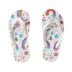 e78042d5935caa Happy Cartoon Rainbows and Shapes Seamless Pattern Kid s Flip Flops   kidsflipflops  flipflops  thongs