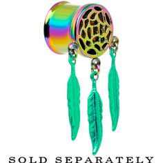 "1/2"" Rainbow Titanium Dreamcatcher Dangle Tunnel Plug #giftsforher #giftsforhim"