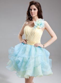 A-Line/Princess One-Shoulder Short/Mini Organza Satin Homecoming Dress With Flower(s) Cascading Ruffles