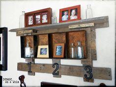 Pallet wood and rusty metal shelf via http://deniseonawhim.blogspot.com
