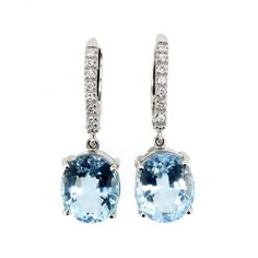 Oval Aquamarine Drop Earrings Diamonds On The Band Gemstone Diamond