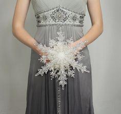 Wedding Flowers  Crystal Snowflake Bridal by BridalBouquetsbyKy, $175.00