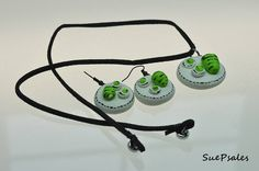 Green Eggs and Ham Necklace and Earrings Polymer Clay by SuePsales