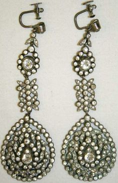 Silver and paste earrings…paste, cut glass, was often used as a substitute for diamonds…Late 18th c French silver MET