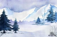 Winter nature landscapes with snow fir-tree forest - 25 Eps