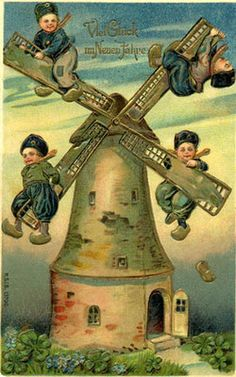 Dutch boys riding on a windmill Vintage Ephemera, Vintage Cards, Vintage Paper, Vintage Pictures, Vintage Images, Moulin France, Old Windmills, Look Vintage, Nouvel An