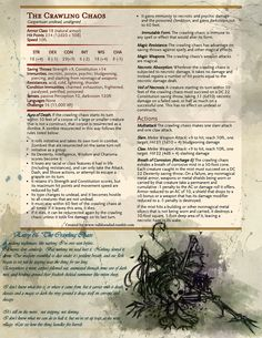 "Another entry from Barrowborn's Big Book of Bounties - ""The Crawling Chaos."" A gargantuan undead, birthed from raw necromancy magic gone awry, the Crawling Chaos is a dangerous creation filled with unbridled, animate purpose. Its breath corrosive and..."