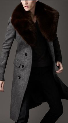 Burberry fur overcollar pea coat.