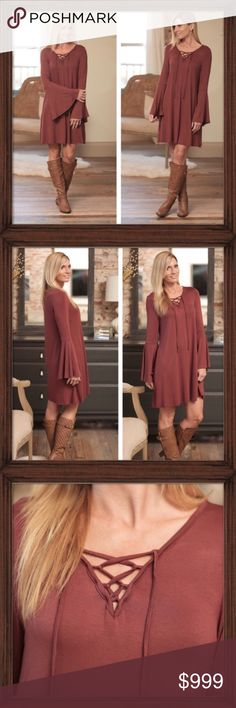 COMING SOON; Boho Bell Lace Up Dress COMING SOON; This rust colored dress is the perfect mix of flirty and casual. Soft knit non-clinging fabric with cute lace up detail and just the right amount of bell sleeve to make it fun! Available in small medium and large. Infinity Raine Dresses
