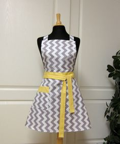 Chevron Retro Apron Grey White  Flair for Cooking by GreatGoods, $30.00